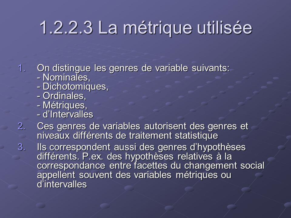 1.2.2.3 La métrique utilisée On distingue les genres de variable suivants: - Nominales, - Dichotomiques, - Ordinales, - Métriques, - d'Intervalles.