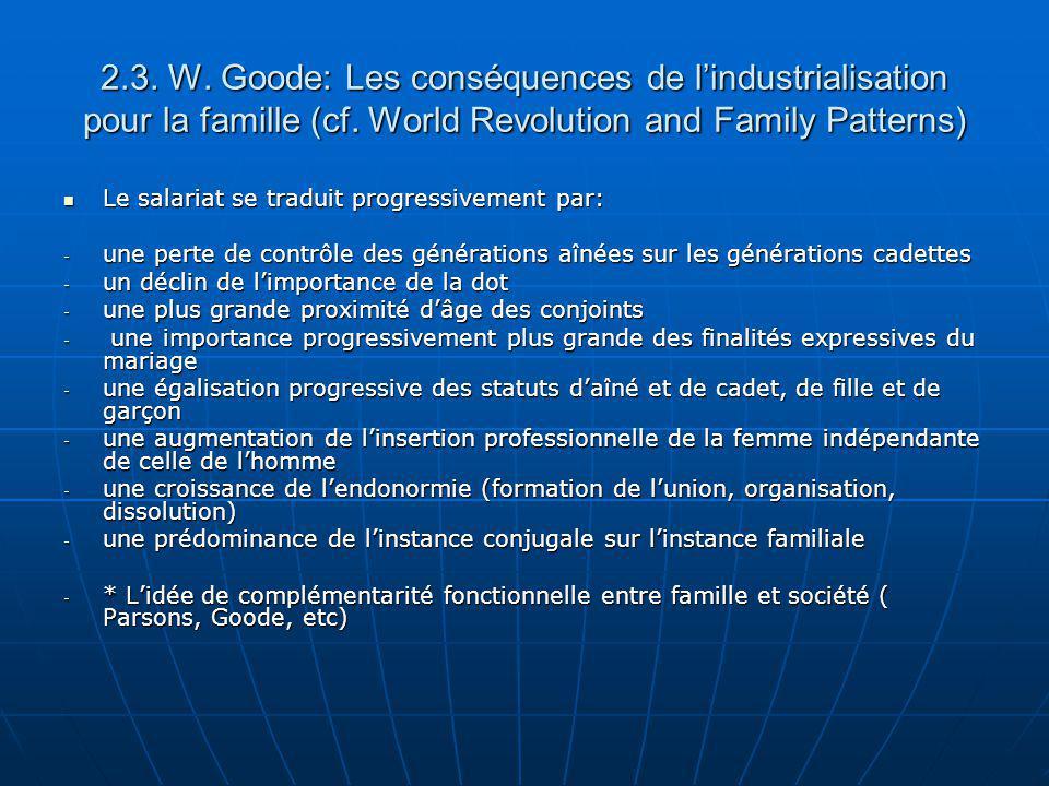 2.3. W. Goode: Les conséquences de l'industrialisation pour la famille (cf. World Revolution and Family Patterns)
