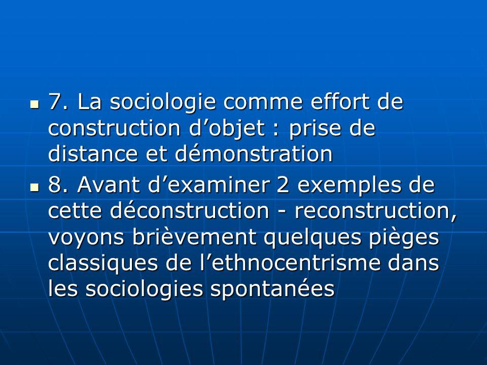7. La sociologie comme effort de construction d'objet : prise de distance et démonstration