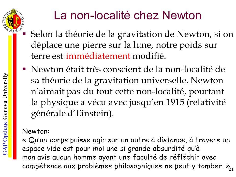 La non-localité chez Newton