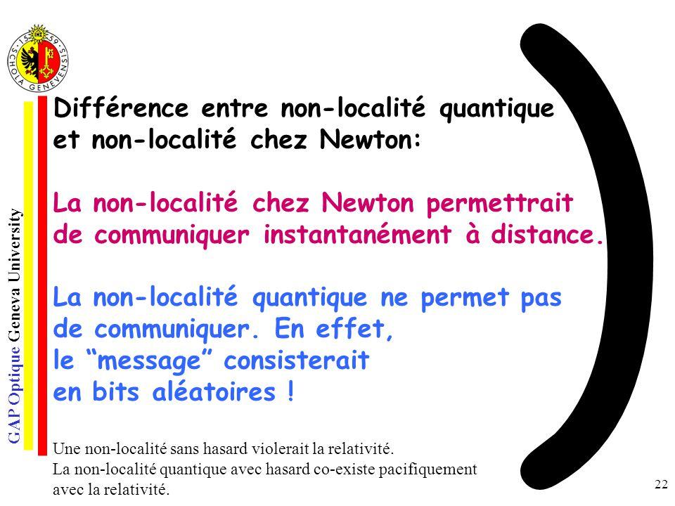 ) Différence entre non-localité quantique et non-localité chez Newton: