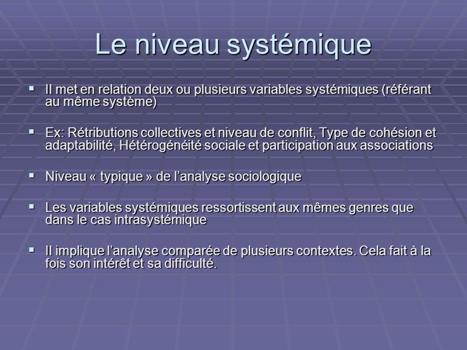 Le niveau systémique Il met en relation deux ou plusieurs variables systémiques (référant au même système)