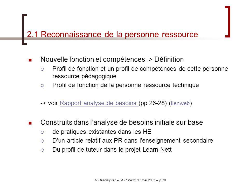 2.1 Reconnaissance de la personne ressource