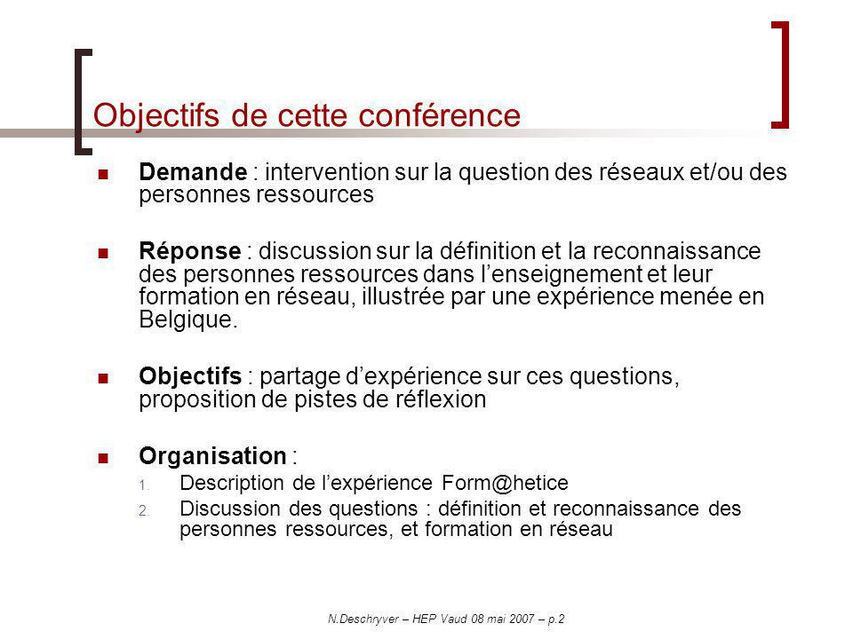 Objectifs de cette conférence