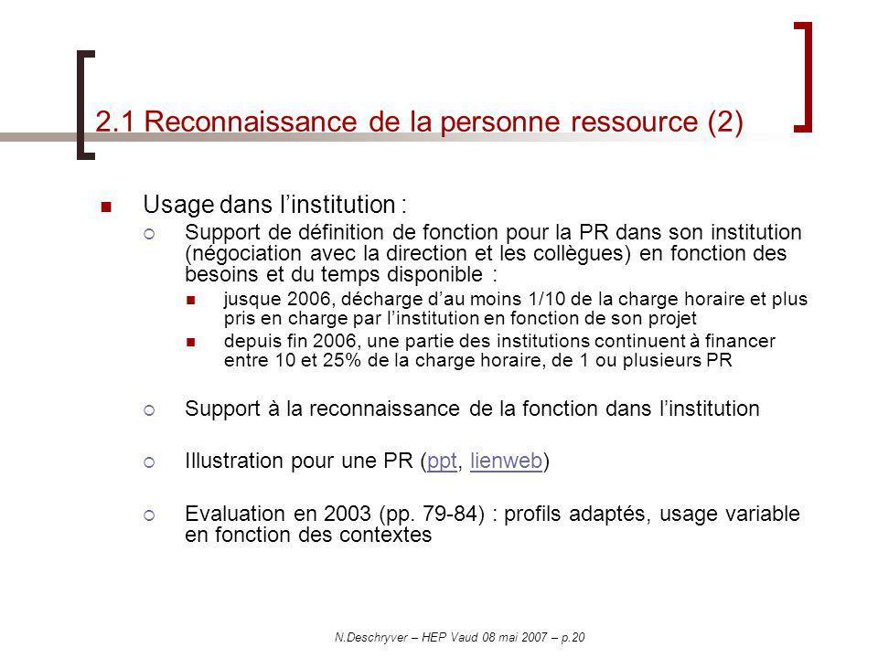 2.1 Reconnaissance de la personne ressource (2)