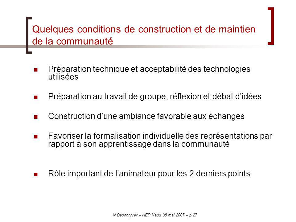 Quelques conditions de construction et de maintien de la communauté