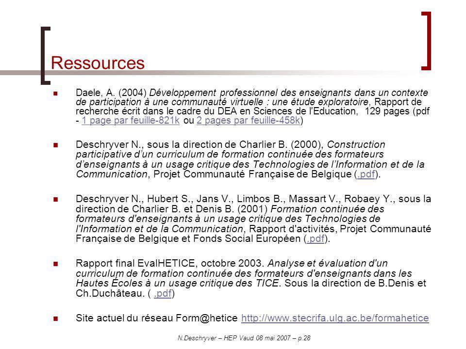N.Deschryver – HEP Vaud 08 mai 2007 – p.28