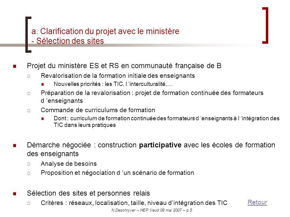 a. Clarification du projet avec le ministère - Sélection des sites
