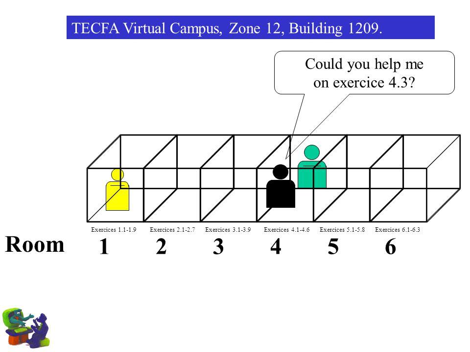 Room 1 2 3 4 5 6 TECFA Virtual Campus, Zone 12, Building 1209.