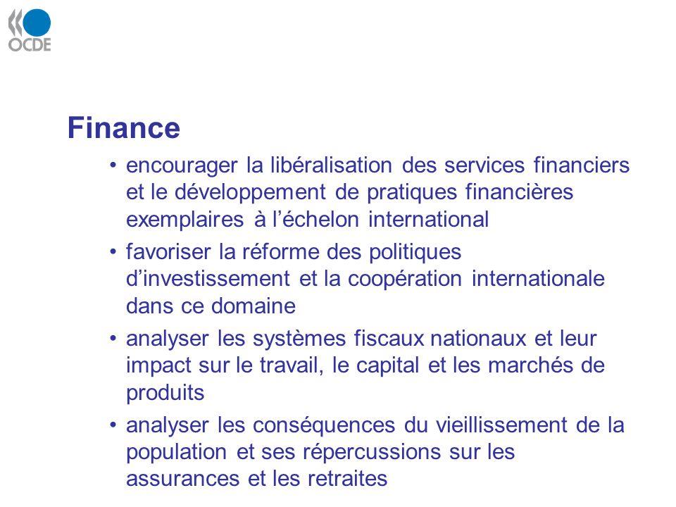 Finance encourager la libéralisation des services financiers et le développement de pratiques financières exemplaires à l'échelon international.