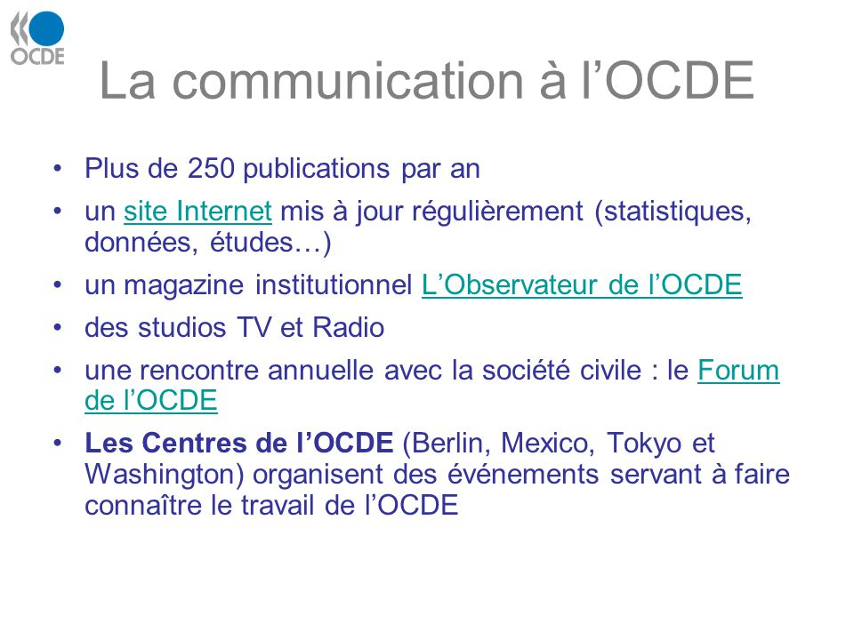 La communication à l'OCDE