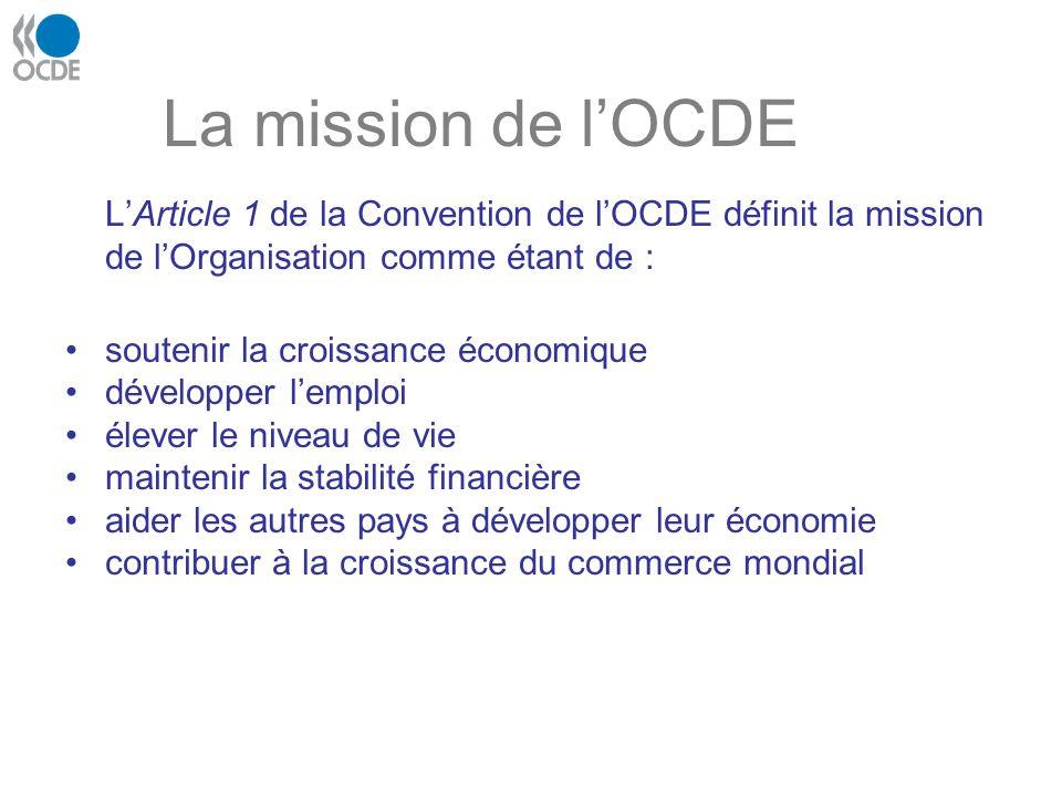 La mission de l'OCDE L'Article 1 de la Convention de l'OCDE définit la mission de l'Organisation comme étant de :