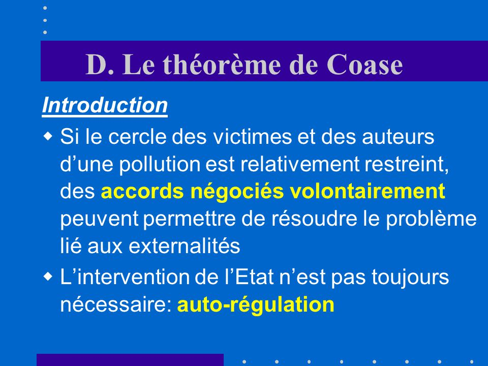D. Le théorème de Coase Introduction