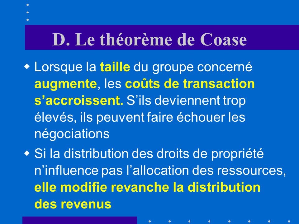 D. Le théorème de Coase