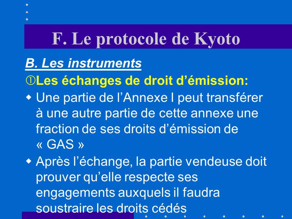 F. Le protocole de Kyoto B. Les instruments
