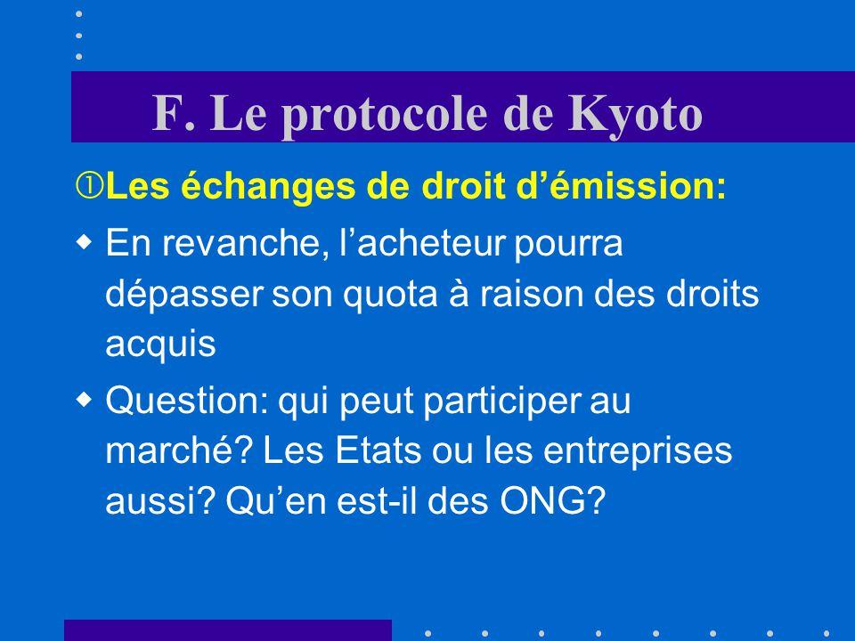 F. Le protocole de Kyoto Les échanges de droit d'émission: