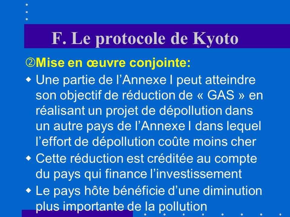 F. Le protocole de Kyoto Mise en œuvre conjointe: