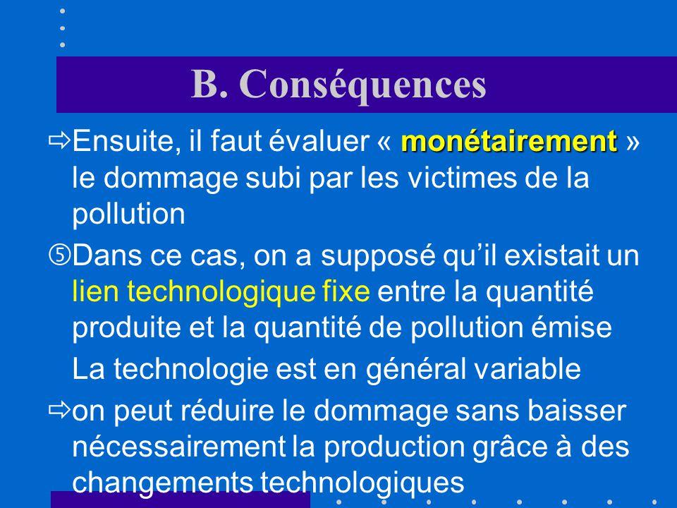 B. Conséquences Ensuite, il faut évaluer « monétairement » le dommage subi par les victimes de la pollution.