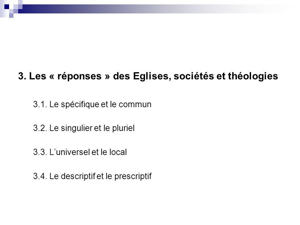 3. Les « réponses » des Eglises, sociétés et théologies