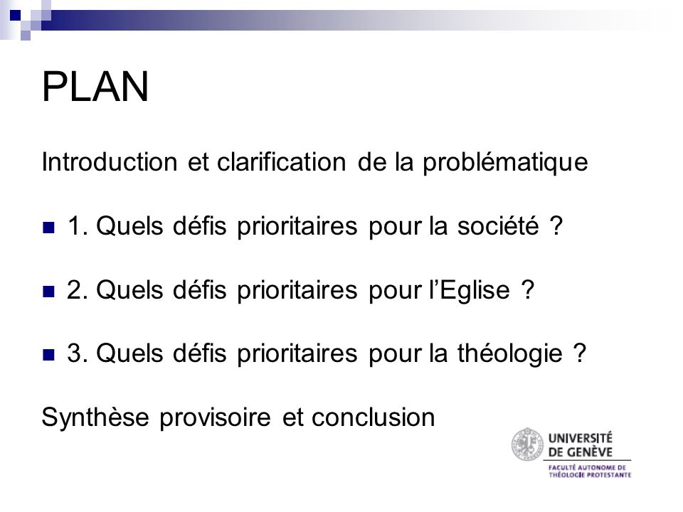 PLAN Introduction et clarification de la problématique