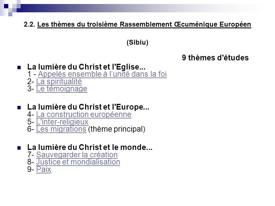 2.2. Les thèmes du troisième Rassemblement Œcuménique Européen (Sibiu)