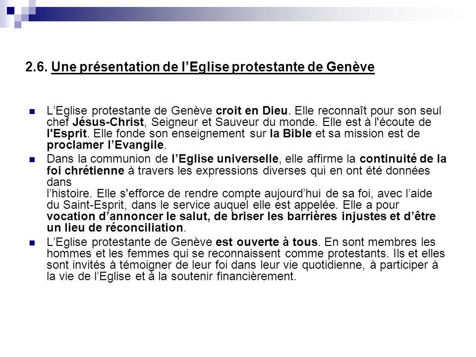 2.6. Une présentation de l'Eglise protestante de Genève