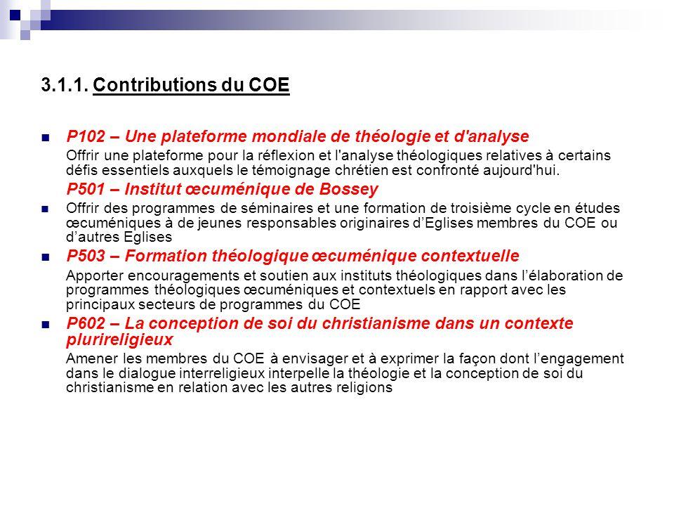 3.1.1. Contributions du COE P102 – Une plateforme mondiale de théologie et d analyse