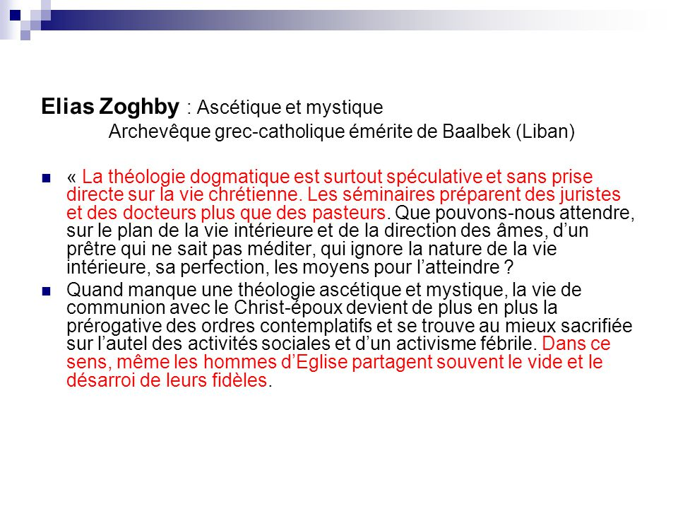 Elias Zoghby : Ascétique et mystique