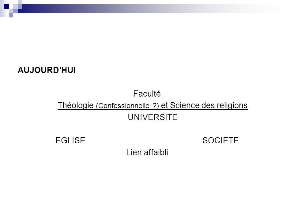 Théologie (Confessionnelle ) et Science des religions