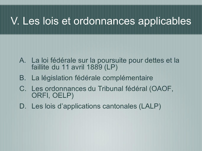 V. Les lois et ordonnances applicables