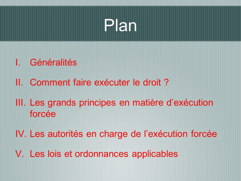 Plan Généralités Comment faire exécuter le droit