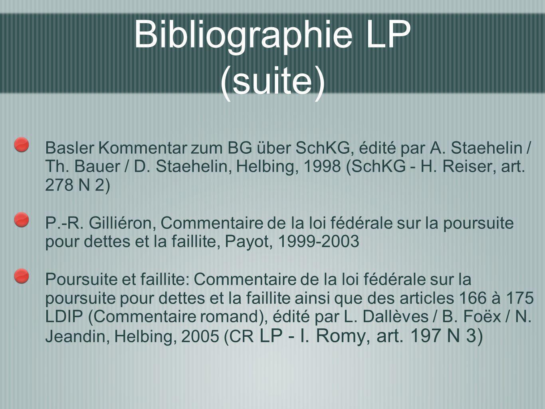 Bibliographie LP (suite)