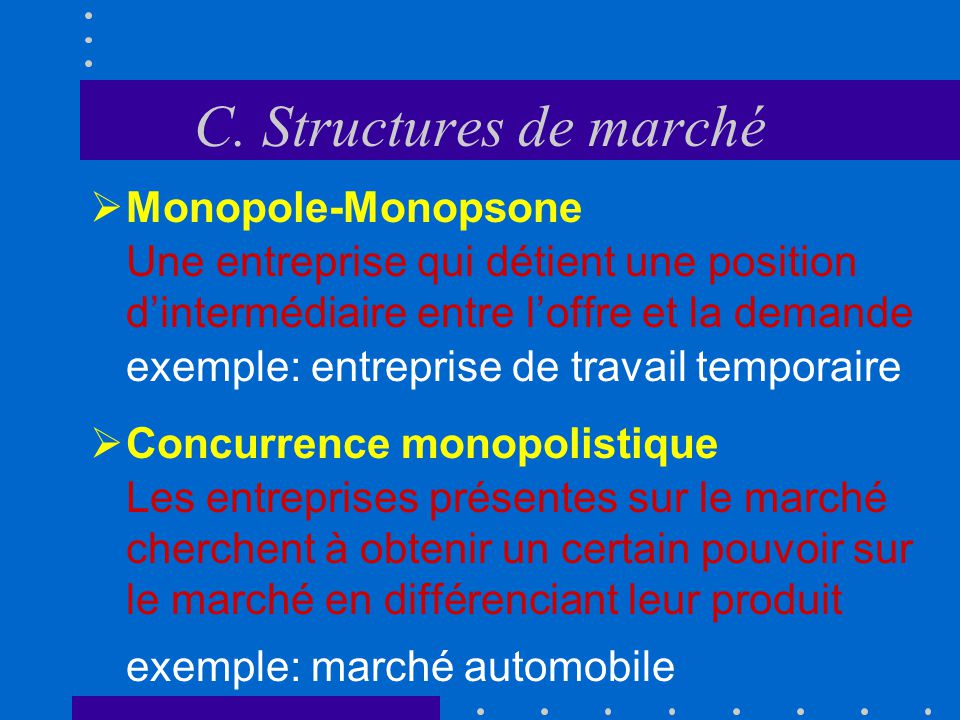 C. Structures de marché Monopole-Monopsone