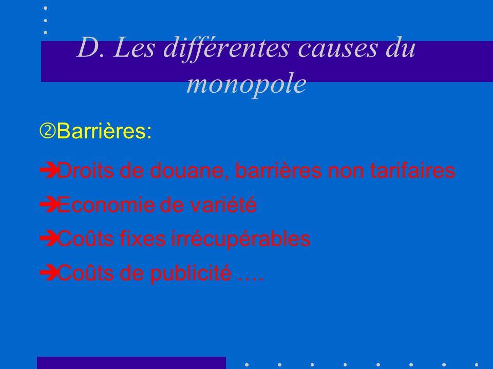 D. Les différentes causes du monopole