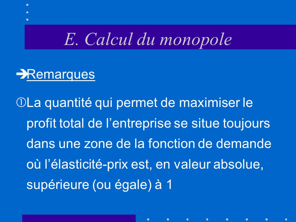 E. Calcul du monopole Remarques