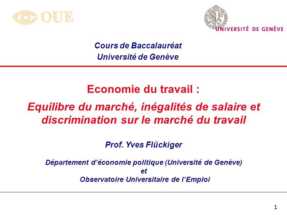 Cours de Baccalauréat Université de Genève. Economie du travail :