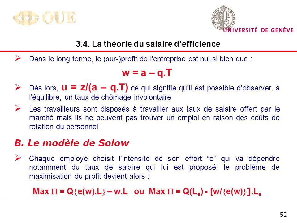 w = a – q.T B. Le modèle de Solow