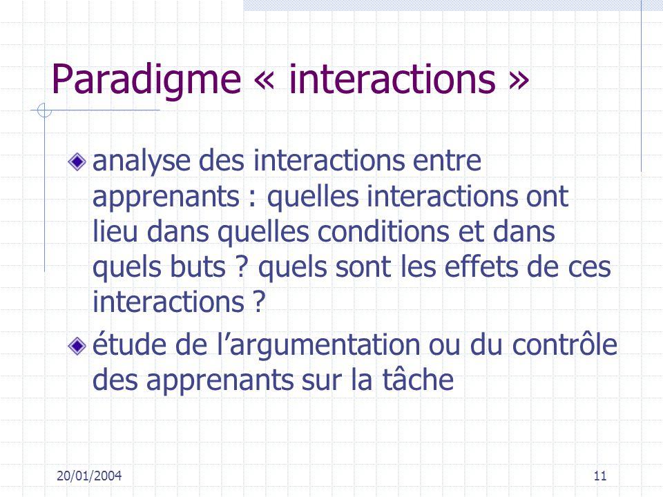 Paradigme « interactions »