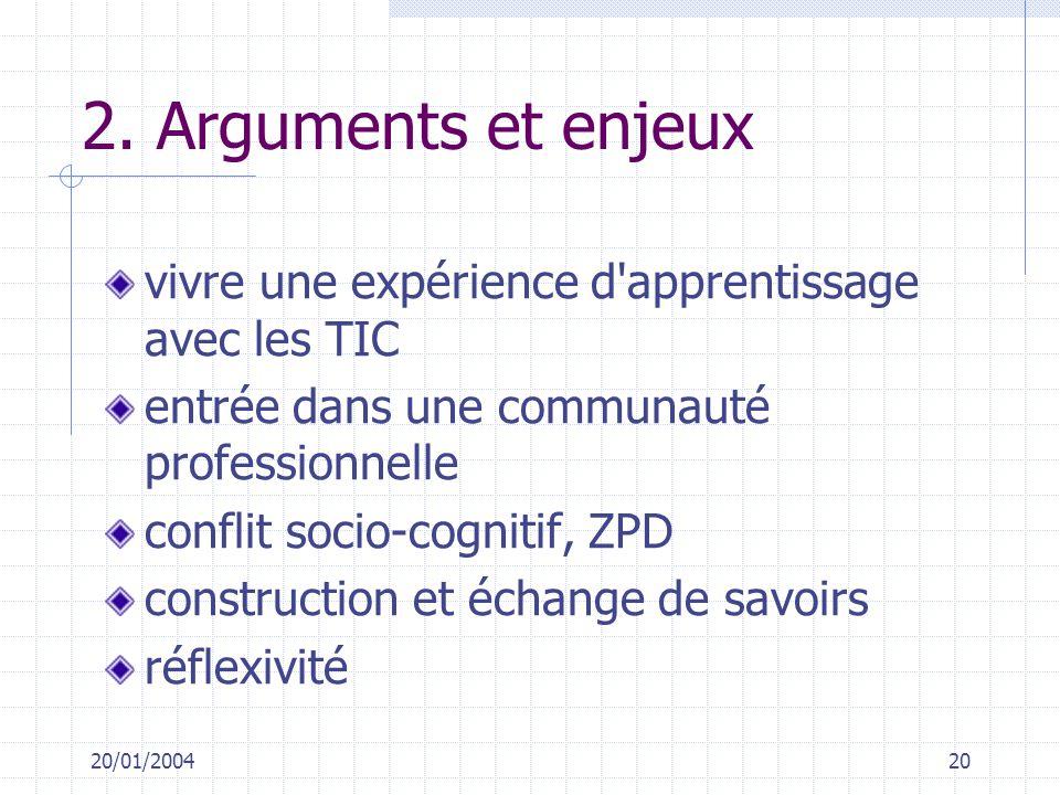 2. Arguments et enjeux vivre une expérience d apprentissage avec les TIC. entrée dans une communauté professionnelle.