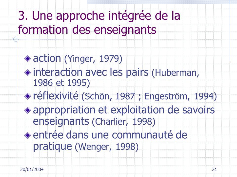 3. Une approche intégrée de la formation des enseignants
