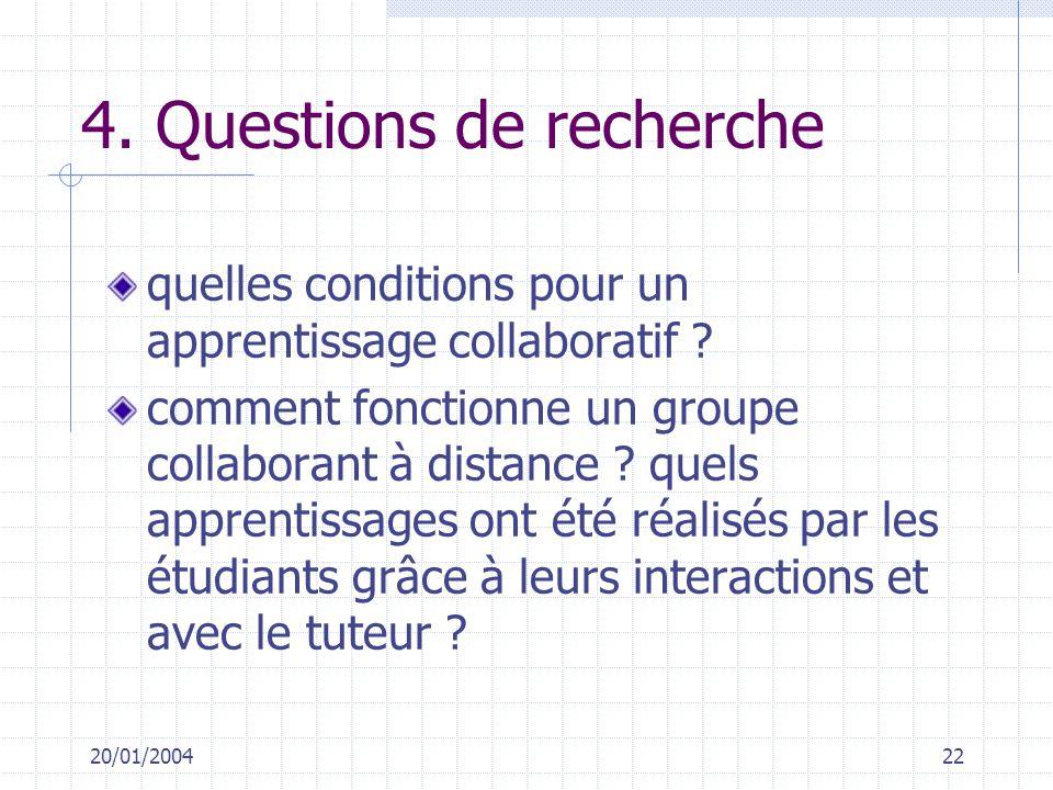4. Questions de recherche