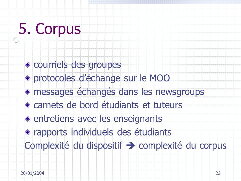 5. Corpus courriels des groupes protocoles d'échange sur le MOO