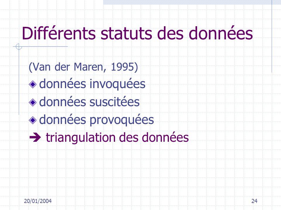 Différents statuts des données