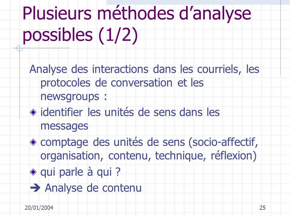 Plusieurs méthodes d'analyse possibles (1/2)