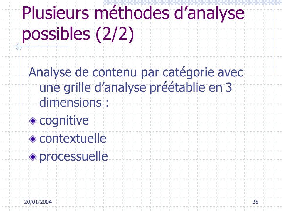Plusieurs méthodes d'analyse possibles (2/2)