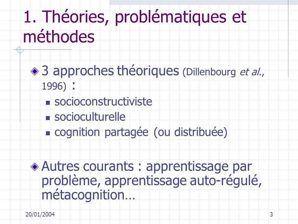1. Théories, problématiques et méthodes