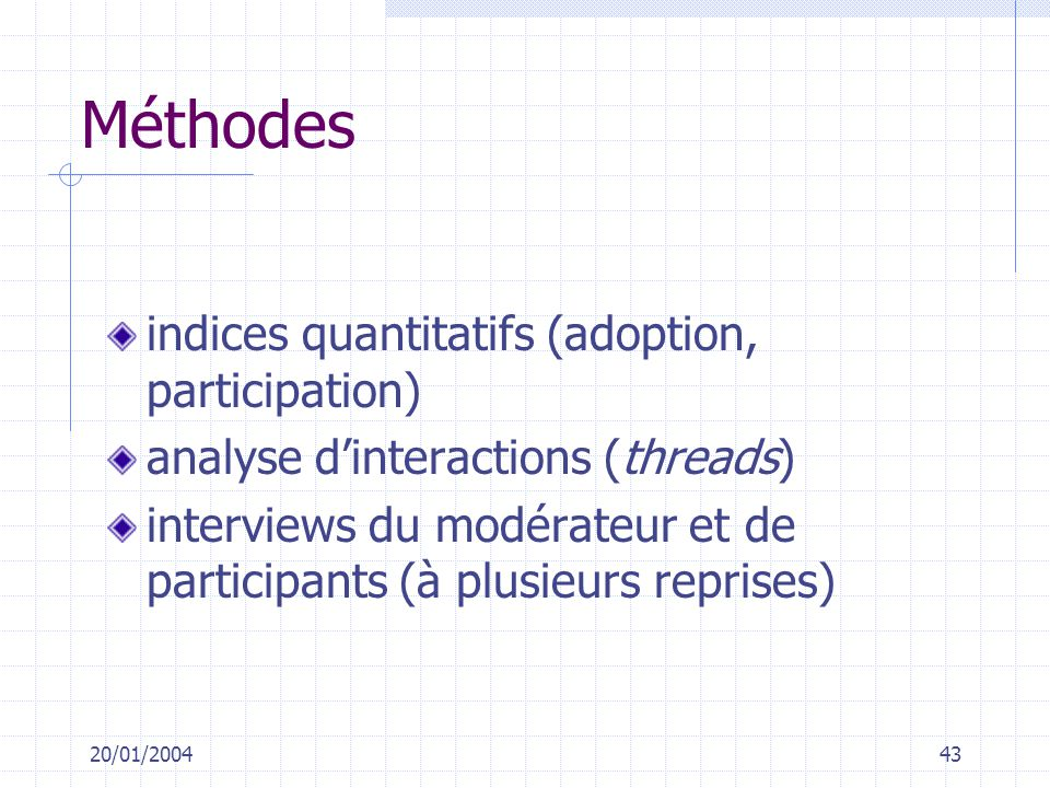 Méthodes indices quantitatifs (adoption, participation)