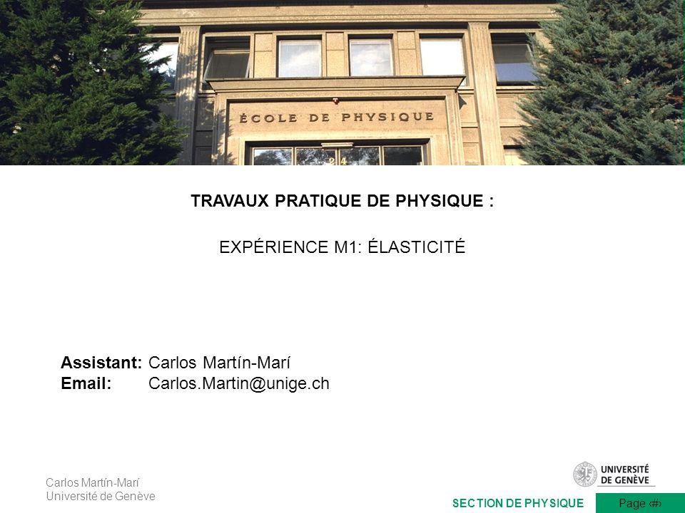 TRAVAUX PRATIQUE DE PHYSIQUE :
