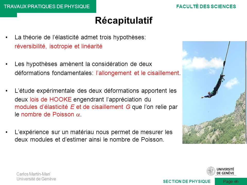 Récapitulatif La théorie de l'élasticité admet trois hypothèses: