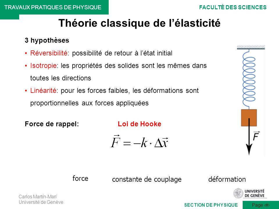 Théorie classique de l'élasticité